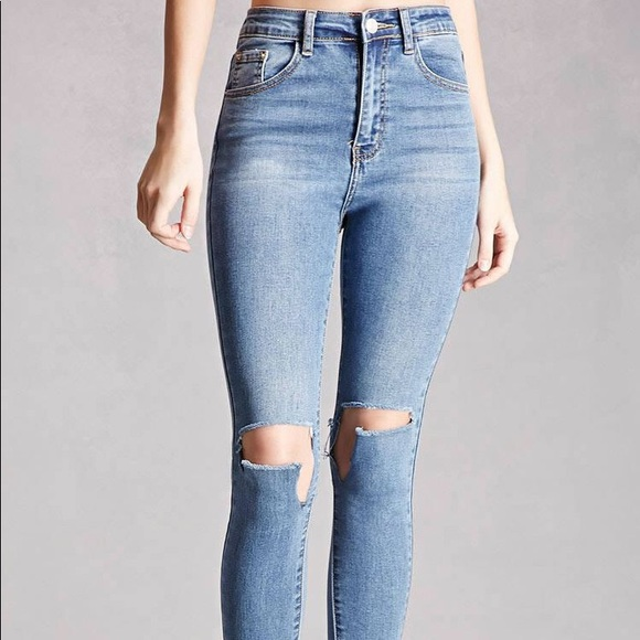 coupon code pretty nice bright n colour Momokrom high waist ripped knee cut off jeans